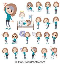 Bob hair women Sportswear_sickness - A set of women in...