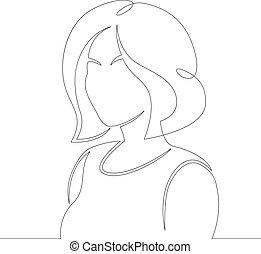 bob, hairstyle., jeune, court, portrait, cheveux, femme