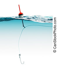 Bobber with fishing line and hook under water closeup