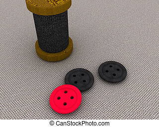 bobbin and a buttons. 3d