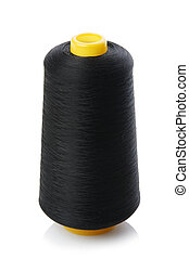 bobbin with black thread isolated on a white background