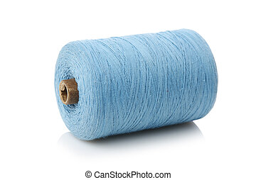 bobbin with blue thread isolated on a white background