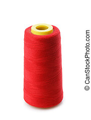 bobbin with red thread isolated on a white background