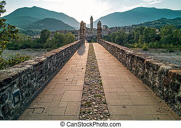 Bobbio, Piacenza province, italy - Theold medieval bridge of...