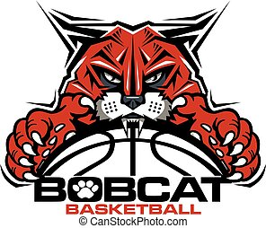bobcat basketball team design with mascot and ball for ...