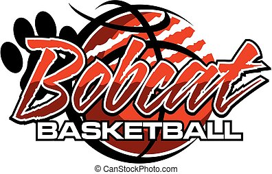bobcat basketball team design with ripped ball and paw print...