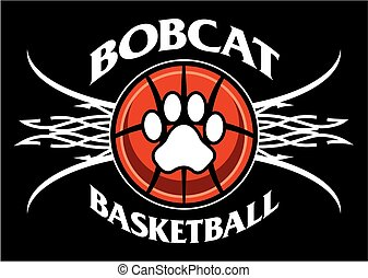 bobcat basketball team design with tribal net for school,...