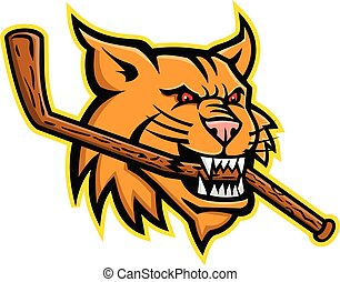 bobcat-biting-ice-hockey-stick-head-MASCOT