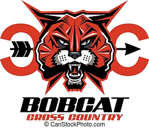 bobcat cross country team design with mascot for school, ...