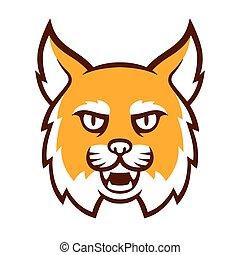 bobcat, enojado, cabeza, mascota
