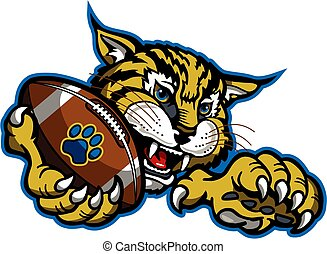 bobcat football mascot holding ball in claw for school, ...