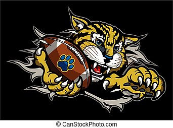 bobcat football mascot holding ball in claw ripping through background for school, college or league