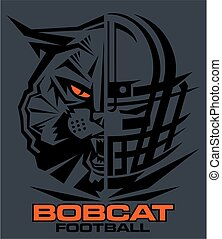 bobcat football team design with mascot and facemask for...