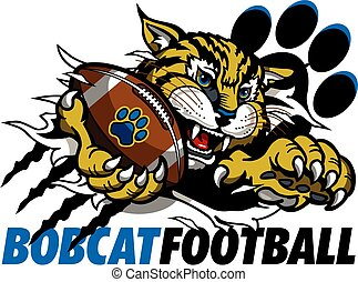 bobcat football team design with mascot holding ball in claw ripping through background for school, college or league