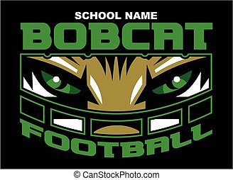 bobcat football team design with mascot wearing facemask for...