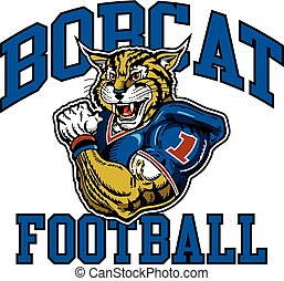 bobcat football team design with muscular mascot player