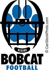 bobcat football team design with paw print inside helmet