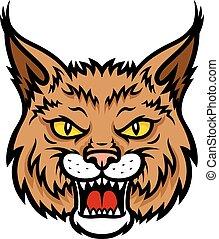 bobcat, lince, cabeza, bozal, vector, mascota, icono