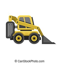 Bobcat Machine Icon. Flat Style Design. Vector