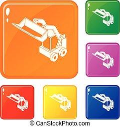 Bobcat machine icons set vector color