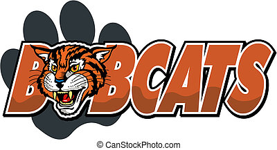 bobcat mascot design with paw print and cute bobcat head