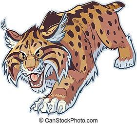 Bobcat or Wildcat Vector Mascot - Vector cartoon clip art...