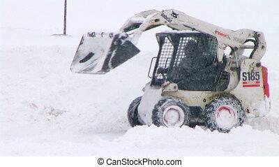 bobcat, plowing, śnieg