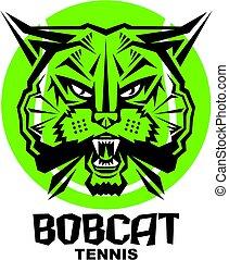 bobcat tennis team design with mascot head inside ball for ...