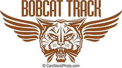 bobcat track and field team design with winged mascot head for school, college or league