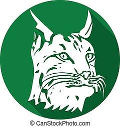 (bobcat, vlak hoofd, pictogram, lynx
