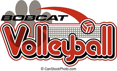 bobcat volleyball team design with paw print for school, ...