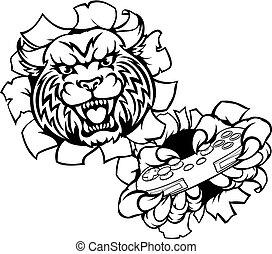 Bobcat Wildcat Esports Gamer Mascot