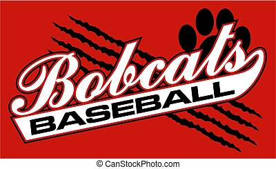 bobcats baseball team design in script with rips and paw...