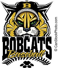 bobcats baseball team design with stitches and half mascot...