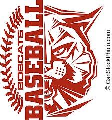 bobcats baseball team design with stitches and half mascot...