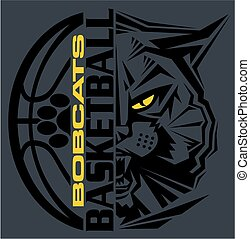 bobcats basketball team design with ball and mascot for...