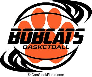 bobcats basketball team design with ball and paw print for ...