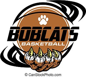 bobcats basketball team design with paw print inside ball...