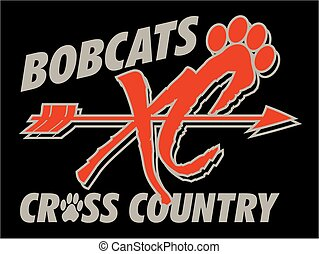 bobcats cross country team design with arrow and paw print...