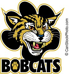 bobcats mascot team design with mascot head and large paw...