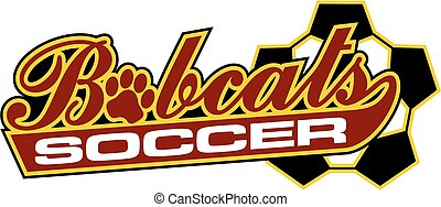 bobcats soccer team design in script with tail for school,...