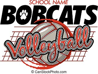 bobcats volleyball team design with ball and net for school,...