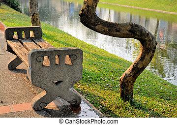 bobina, árbol, alrededor, bench.