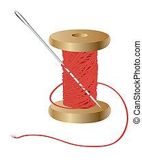 bobina, agulha, linha vermelha