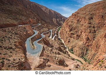 bobina, dades, cañón, camino, marruecos