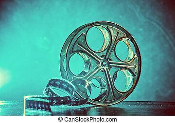 bobina, de, película, com, fumaça, e, backlight