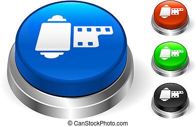 bobina película, ícone, ligado, internet, botão