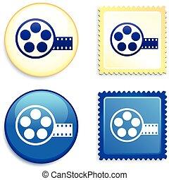 bobina película, ligado, selo, e, botão