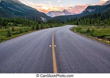 bobina, primero, camino, montaña