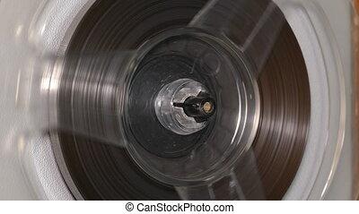 bobine, bande, rotation, vieux, enregistreur